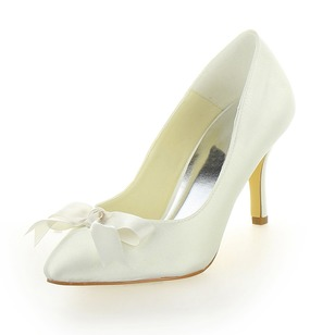 Vrouwen Satijn Stiletto Heel Closed Toe Pumps met Strik