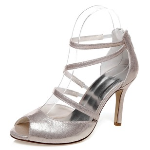 Women's PU Stiletto Heel Peep Toe Sandals With Zipper