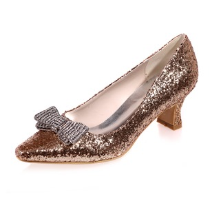 Women's Sparkling Glitter Kitten Heel Closed Toe Pumps With Bowknot