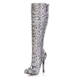 PU Stiletto Heel Closed Toe Boots Over The Knee Boots With Buckle Zipper shoes