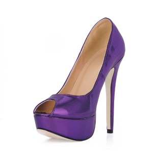 Suede Stiletto Heel Peep Toe Platform Pumps