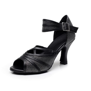 Women's Patent Leather Heels Pumps Latin Tango With Ankle Strap Dance Shoes