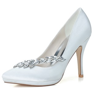 Women's Satin Stiletto Heel Closed Toe Pumps With Rhinestone