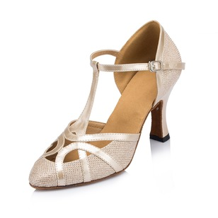 Women's Leatherette Sparkling Glitter Heels Pumps Latin Tango With Ankle Strap Dance Shoes