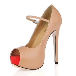 Leatherette Stiletto Heel Platform Peep Toe shoes (0855102551)