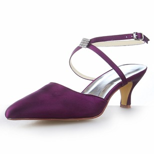 Women's Satin Kitten Heel Closed Toe Sandals Slingbacks With Buckle