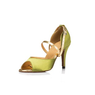 Women's Satin Heels Sandals Modern With Ankle Strap Dance Shoes