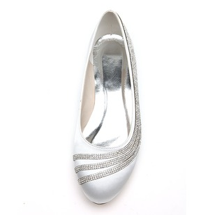 Women's Satin Flat Heel Closed Toe Flats With Beading (0475099627)