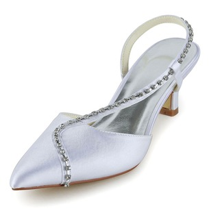Women's Satin Kitten Heel Closed Toe Sandals Slingbacks With Rhinestone
