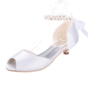 Women's Satin Kitten Heel Peep Toe Sandals With Imitation Pearl Lace-up (0475099553)