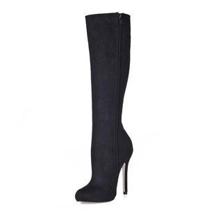 Suede Stiletto Heel Closed Toe Knee High Boots shoes