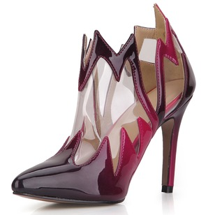 Patent Leather Stiletto Heel Closed Toe Boots Ankle Boots With Others shoes (0885119679)