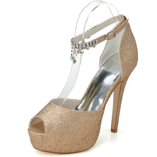 Women's Sparkling Glitter Stiletto Heel Peep Toe Platform Pumps Sandals With Rhinestone Tassel