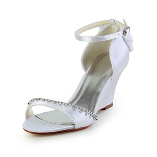 Women's Satin Wedge Heel Peep Toe Wedges With Bowknot Buckle