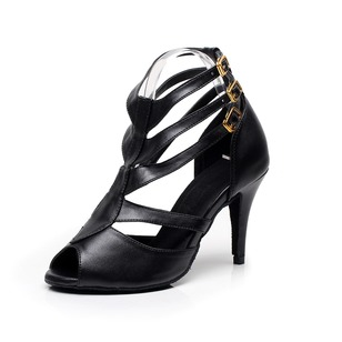Women's Leatherette Heels Pumps Latin Tango With Ankle Strap Dance Shoes