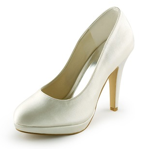 Satijn Stiletto Heel Closed Toe Plateau Pumps