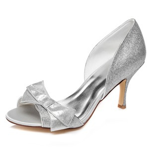 Women's Sparkling Glitter Stiletto Heel Peep Toe Sandals With Bowknot Sparkling Glitter