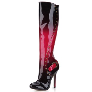 Patent Leather Stiletto Heel Closed Toe Over The Knee Boots With Zipper shoes