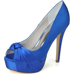 Women's Satin Stiletto Heel Peep Toe Platform Pumps Sandals (0475100092)
