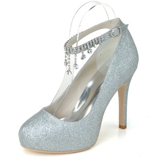 Vrouwen Sprankelende Glitter Stiletto Heel Closed Toe Plateau Pumps met Strass Kwast