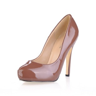 Patent Leather Stiletto Heel Pumps Platform Closed Toe shoes