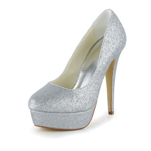 Women's Satin Sparkling Glitter Stiletto Heel Closed Toe Platform Pumps