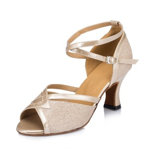 Women's Sparkling Glitter Heels Sandals Modern With Ankle Strap Dance Shoes