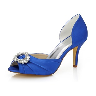 Satin Stiletto Heel Peep Toe Pumps With Rhinestone