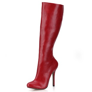 PU Stiletto Heel Boots Knee High Boots With Zipper shoes