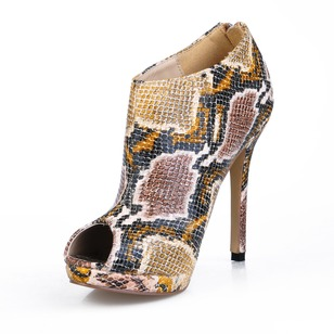 Leatherette Stiletto Heel Peep Toe Ankle Boots With Animal Print shoes
