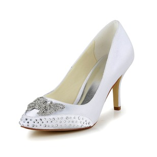 Satin Stiletto Heel Closed Toe Pumps With Rhinestone