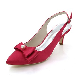 Women's Silk Like Satin Spool Heel Pumps With Bowknot