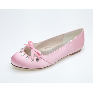 Women's Satin Flat Heel Closed Toe Flats With Bowknot