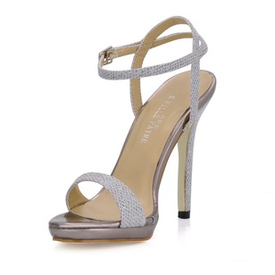 Leatherette Sparkling Glitter Stiletto Heel Sandals Peep Toe With Beading shoes