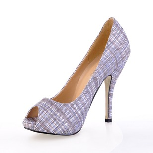 Fabric Stiletto Heel Pumps Peep Toe shoes