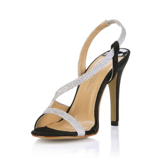 Sparkling Glitter Stiletto Heel Sandals Peep Toe With Sparkling Glitter shoes