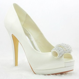 Women's Satin Stiletto Heel Closed Toe Peep Toe Platform Pumps With Bowknot Rhinestone