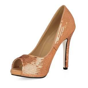 Sparkling Glitter Stiletto Heel Pumps Peep Toe With Beading shoes