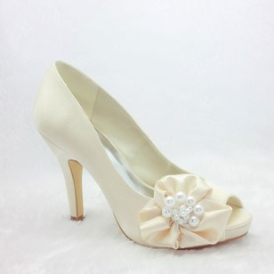 Women's Satin Stiletto Heel Peep Toe Platform Pumps With Satin Flower
