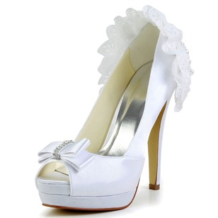 Women's Satin Stiletto Heel Peep Toe Platform Pumps With Bowknot