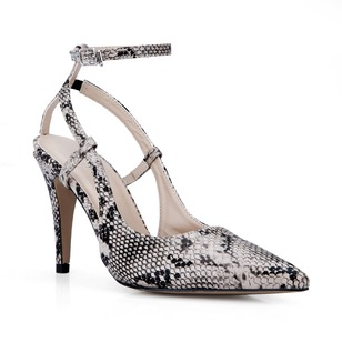 Leatherette Stiletto Heel Pumps Closed Toe Slingbacks With Animal Print shoes (0855100527)