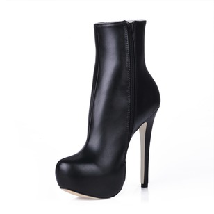 Leatherette Stiletto Heel Platform Closed Toe Boots shoes