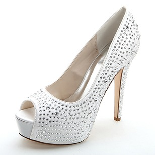 Women's Satin Stiletto Heel Peep Toe Platform Pumps Sandals With Beading Rhinestone