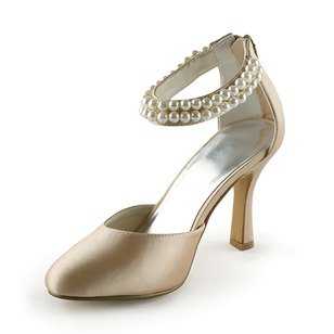 Women's Satin Stiletto Heel Closed Toe Pumps With Imitation Pearl (0475119147)