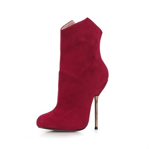 Suede Stiletto Heel Closed Toe Boots Ankle Boots With Zipper shoes (0885119676)