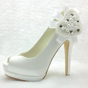 Women's Satin Stiletto Heel Peep Toe Platform Pumps With Pearl