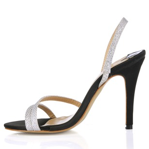 Sparkling Glitter Stiletto Heel Sandals Peep Toe With Buckle shoes