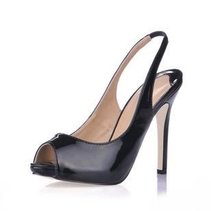 Patent Leather Stiletto Heel Platform Peep Toe Slingbacks shoes