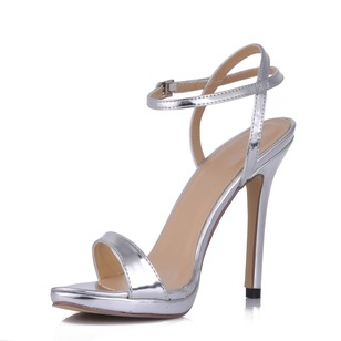 Patent Leather Stiletto Heel Sandals Platform Peep Toe With Buckle shoes