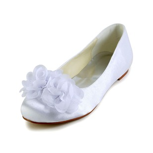Women's Satin Flat Heel Flats With Satin Flower